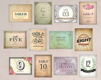 Vintage Inspired Wedding Table Numbers - Personalized Wedding Table Numbers - Vintage Medley Table Number Set - Unique Table Numbers - Retro