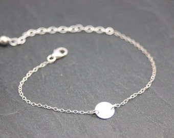 Minimalist Sterling silver bracelet with 925 round medal - Fine bracelet silver sterling