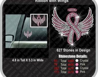 Ribbon with Wings Rhinestone Car Decal
