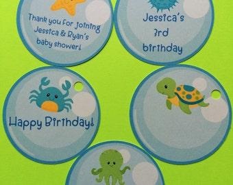 10 Sea creatures favor tags, birthday party fovor tags, tags sea creature, octopus, sea turtle, crab, starfish, blowfish