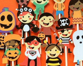 12 Halloween kids in costume cupcake toppers, Halloween toppers, Halloween party cupcake toppers, costume party cupcake toppers