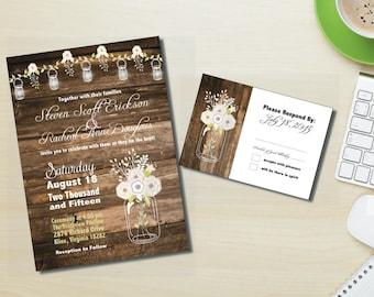 PDF Mason Jar Barn Wedding Invitation Set