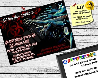 ZOMBIE HALLOWEEN INVITATION Printable Invite. Emailable Invite (Evite) Awesome For A Halloween Party!!!