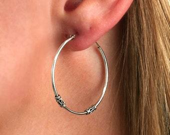 Bali hoops 1.5x28, solid 925 sterling silver hoop earrings with bali design