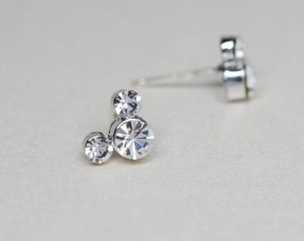 Sterling Silver Mickey Mouse Inspired CZ Stud Earrings.