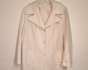 Vintage Montgomery Ward White Textured Swing Coat