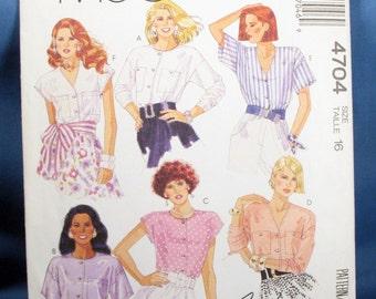 Vintage McCalls Pattern 4704 - Easy Misses Blouses - Size 16