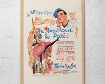 VINTAGE MOVIE POSTER - An American in Paris Movie Ad - 1950's Retro Ad Kitsch Poster Retro Gene Kelly Retro Movie Poster