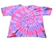 pink and purple Spiral Tie Dye 100% cotton T-shirt, NON TOXIC, ENVIRONMENTAL Friendly.
