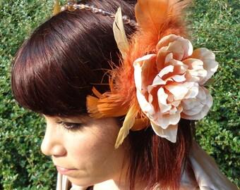 Art Nouveau Peach Rose Headdress/Clips