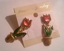 Pink Frosted Tulip Earrings, Vintage Avon earrings