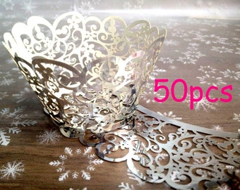 silver wrapper Filigree Paper Laser Cupcake Wrappers Fancy wedding cake Stencil cupcake liner metallic silver wedding party wraps collar