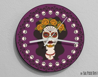 Calavera  Sugar Skull - Day of the Dead -Dia de Los Muertos - Wall Clock