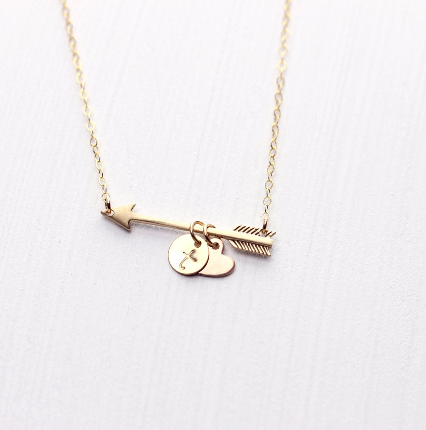 golden arrow personalized necklace monogram by