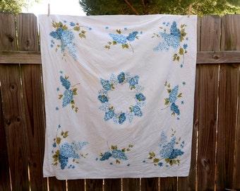 Vintage Blue Hydrangea Tablecloth