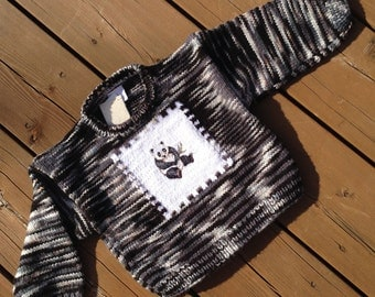 Knit Sweater, Size 4, Knit Sweater, Children's Sweater, Panda Sweater, Baby Sweater, Boy Sweater, Girl Sweater