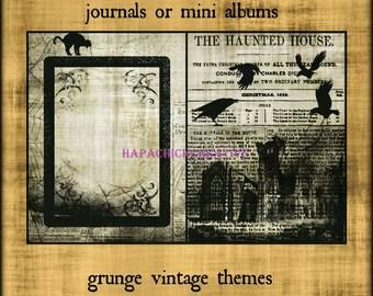 Vintage Halloween  Digital Journal Kit  Junk Journal Vintage  Mini Album  Black & White  Smashbook  Smash Book  Scrapbook  Printables