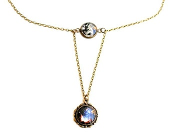 Bronze Necklace Solar System, Earth, Moon, Sun, galactic necklace Space, Universe, Planet Jewelry, Sky, Stars