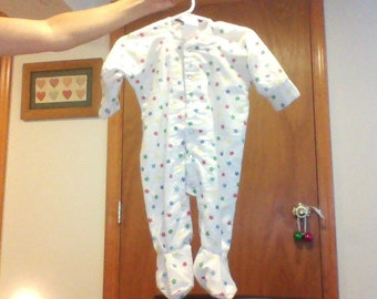 Soft flannel like materialed infant footie sleeper for newborn up to 12 lbs