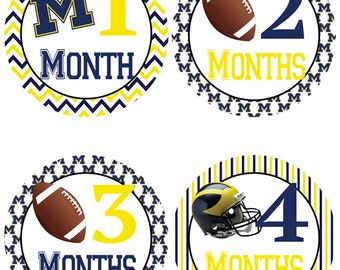 University of Michigan Baby Milestone Stickers - College Football Baby Belly Stickers (293))