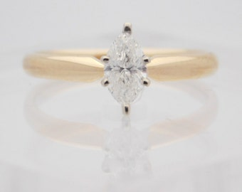 0.51 Carat Marquise Cut Diamond Solitaire Engagement Ring 14K Yellow Gold