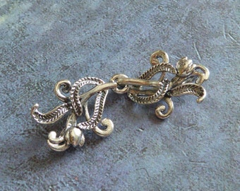 Sterling Silver Flower buds Hook & Eye Clasp ~ 35mm X 13mm