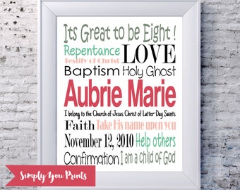 Baptism Subway Art-PRINTABLE- Girl Baptism Gift,LDS, Digital File