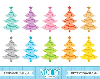 10 Christmas Tree Clipart Set, Multicolor Christmas Trees, Christmas Clipart Set, Printable Christmas Tree Graphic, Tree Clip Art by Vectory