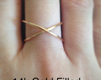Cross Wire Ring / Knuckle Ring / Midi Ring/Thumb Ring