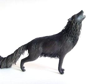 Black Wolf statue - original handmade OOAK fantasy sculpture wolf figure wolf statuette fantasy animal figure figurine creature totem