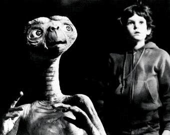 ET Poster, Extra Terrestrial, Classic 1980's Movie, Alien, E.T.