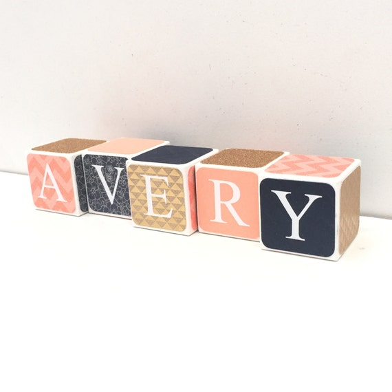 Baby Gift Name Blocks : Personalized wooden name baby blocks letter age