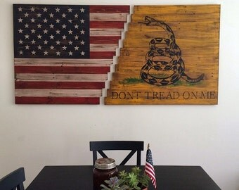 Planked American/Gadsden Flag Wall Art