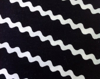 I Like You by Amy Sedaris for Wyndham, Black Fabric with White Diagonal Rick Rack,  Fabric by the yard - Fabric on the Bolt