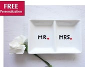 Wedding Ring Holder Personalized Wedding Gift Custom Ring Dish - Bridal Shower Gift - Mr and Mrs Ring Dish - His And Hers Ring Holder