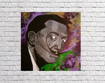Salvador Dali, acrylic painting on wood