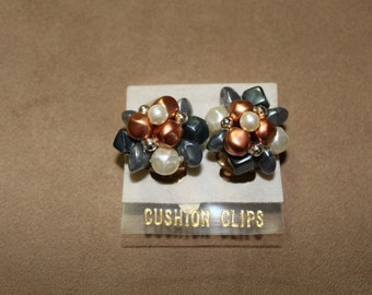 Vintage Beaded Clip On Earrings