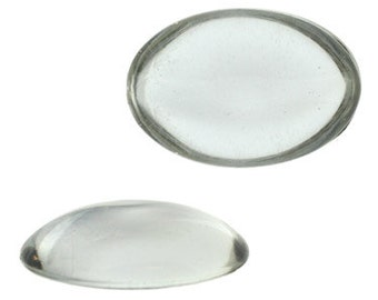 25x18mm Oval Lucite Cabochon - Crystal (72pcs)