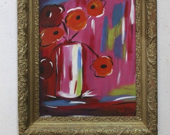 Red Poppies Framed in gold