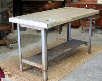 industrial kitchen island or table metal with upcycled boat hatch door top - Metal Kitchen Table