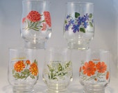 Vintage Drinking Glasses, Juice Glasses, Flowers of the Month Pattern, Set of 5
