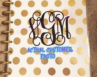 3 INCH Monogram Decal - Agenda Monogram - Notebook Monogram Sticker - Monogram Decal - Vine Monogram - Planner Monogram - Planner Sticker