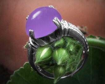 Lavender Jade Sterling Silver Ring