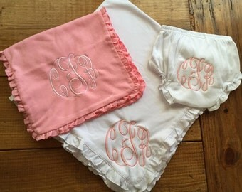 Baby Girl Personalized Blanket, Bloomer & Burp Cloth Set!