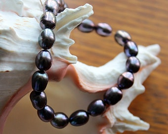 Lavender Raven Wing Pearls. Lavender Potato Pearls