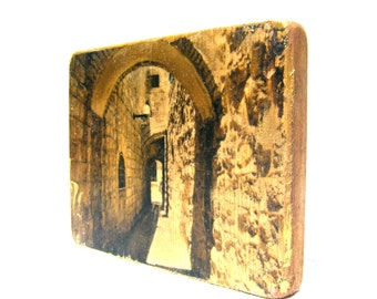 The Old city of Jerusalem. Hand made  Print on Wood of art photography. Wall shelf decoration .Gift idea.