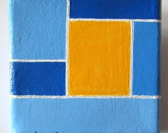 Blue Sun 2 blue  and yellow abstract painting knife painting on canvas