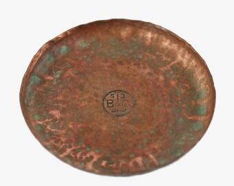 Vintage Arts & Crafts Hand Hammered Copper Coaster