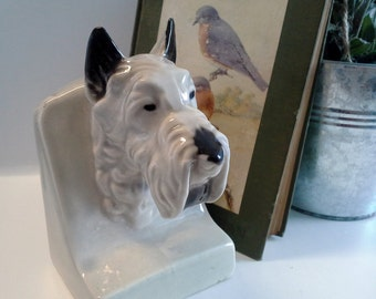 Vintage Scottie Bookend Styson Porcelain Ceramic Gray and Black #351