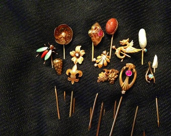 14 Late Victorian Ladies Stick Pins